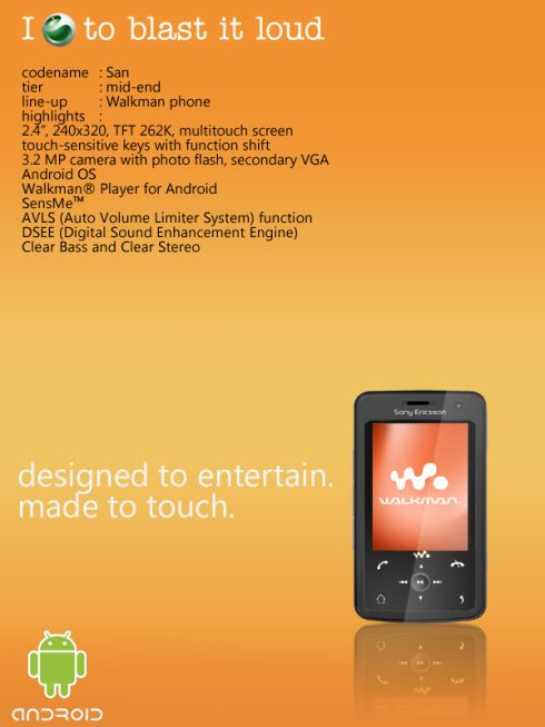Sony Ericsson Walkman San Concept, the X 1000 of Phones; Android Music Phone