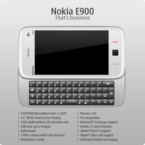 Nokia E900 Concept, Business Meets Touchscreen