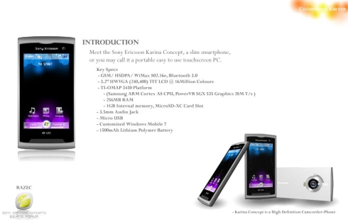 Sony Ericsson Karina Concept Gets Detailed