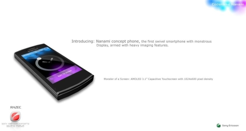 Sony Ericsson Nanami Finished Design, a Swivel Smartphone With a Monstrous Display