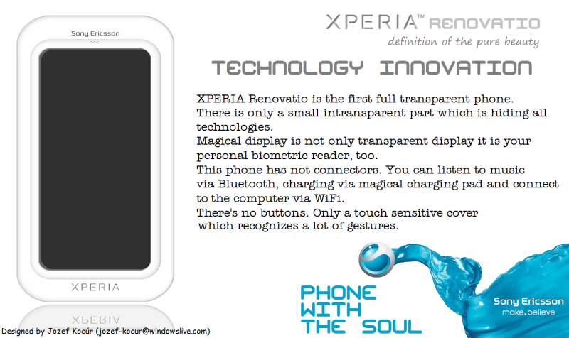Sony Ericsson XPERIA Renovatio Design Finished, First Fully Transparent Phone Pictured