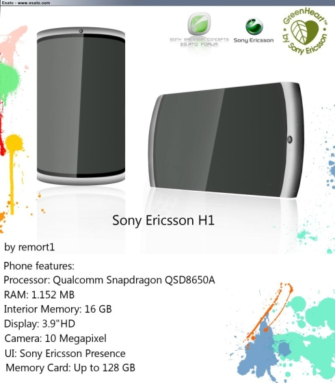 Sony Ericsson H1 is a GreenHeart Smartphone Concept With Tons of RAM