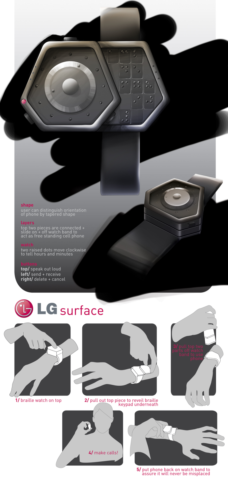 LG Surface, a Watch Phone for the Blind, Featuring a Braille Keypad