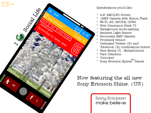 Sony Ericsson Shine U3 Based Phone Design is a Good First Attempt