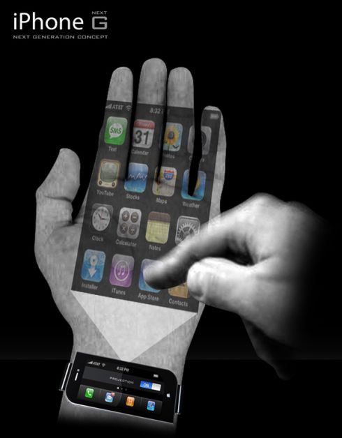 Next Generation iPhone Concept Projects Its Interface on Your Palm