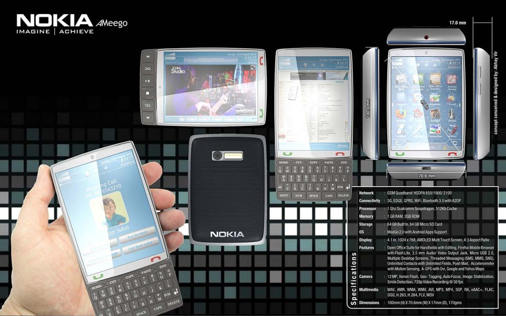 Nokia AMeego 2 Way Slider Concept Phone is a Powerful Machine