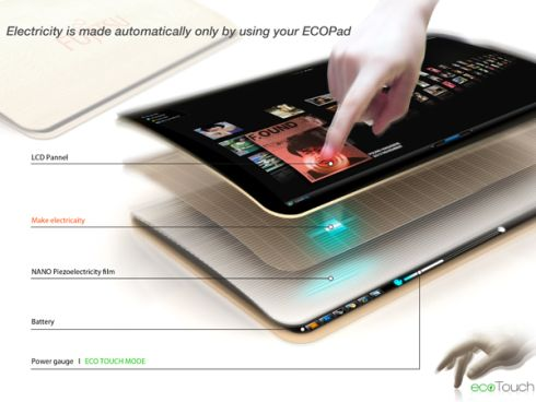 Ecopad Tablet Design Uses no External Power Source for Charging