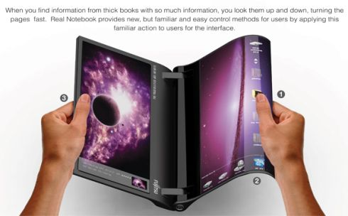 Fujitsu Flexible AMOLED Notebook The Real Notebook Looks a Bit Like the Sony S1 Tablet
