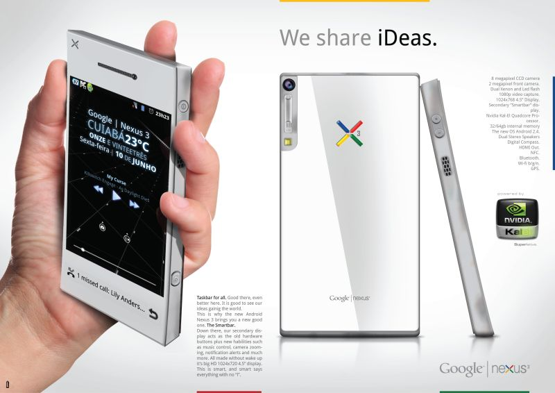 Google Nexus III Concept Features a Smartbar Task Bar at the Bottom, Quad Core CPU