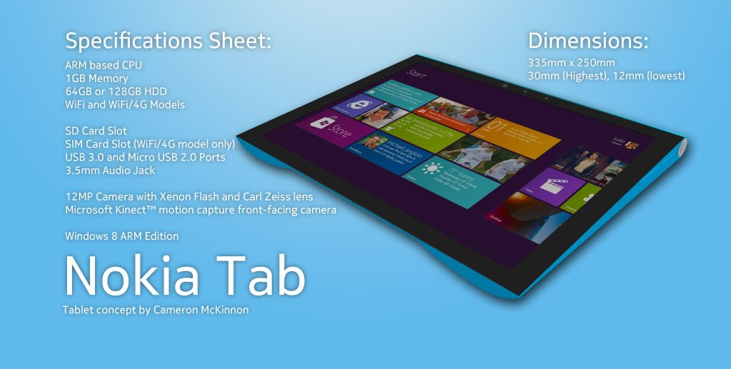 Nokia Tab Concept Tablet Design Is Inspired by the N9 Handset and Sony Tablet S