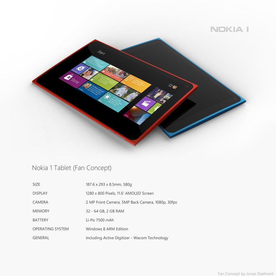 Nokia 1 Tablet Runs Windows 8, Offers a Slim Design
