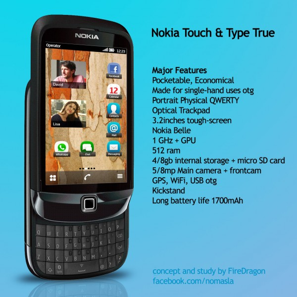 Nokia Touch and Type Design With Nokia Belle OS on Board, Sliding QWERTY Keyboard