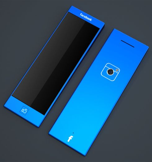 Minimalistic Blue Facebook Phone Has an Instagram Button