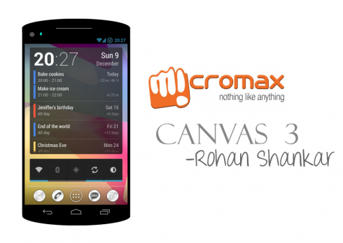 Micromax Canvas 3 Gets New Specs and New Image, Done by Rohan Shankar