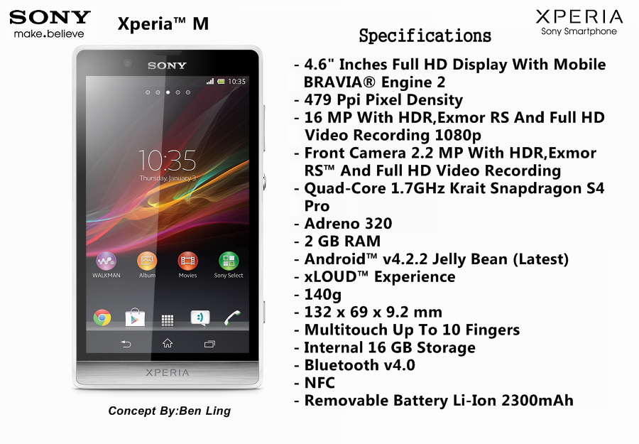 Xperia M Specification Sony Xperia M Concept ...
