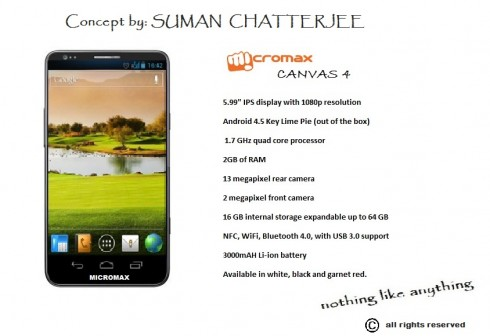 Micromax Canvas 4 Looks a Bit Like a Galaxy S