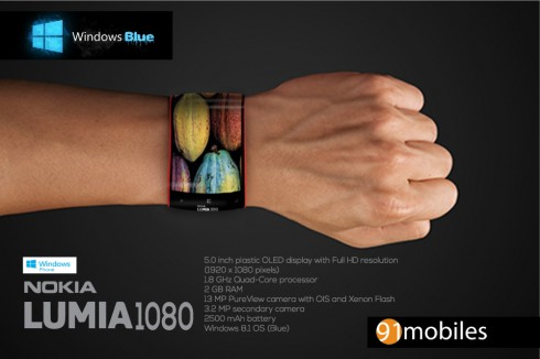 Nokia Lumia 1080 is the Phone on Your Wrist, runs Windows Phone Blue