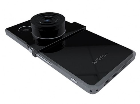 Sony Detachable Lens Accessories Rendered Strapped to an Xperia Phone