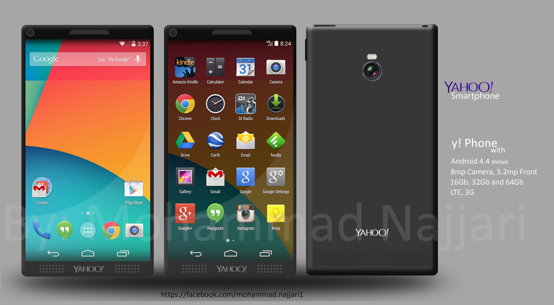Yahoo Phone With Android 4.4 Mockup Envisioned
