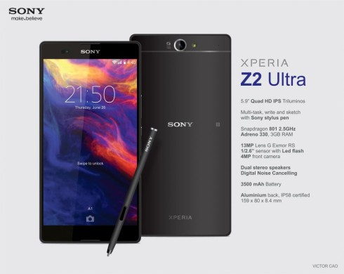 Sony Xperia Z2 Ultra Rendered by Victor Cao