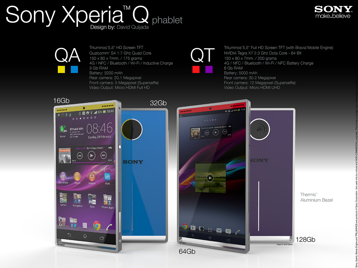 Sony Xperia Q Phablet Rendered in Two Versions: QA and QT