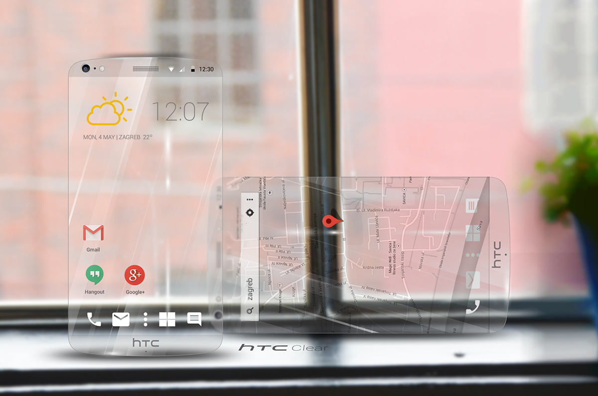 See Through Glass Htc Clear Concept Phone Is A Transparent Handset Made Of A See