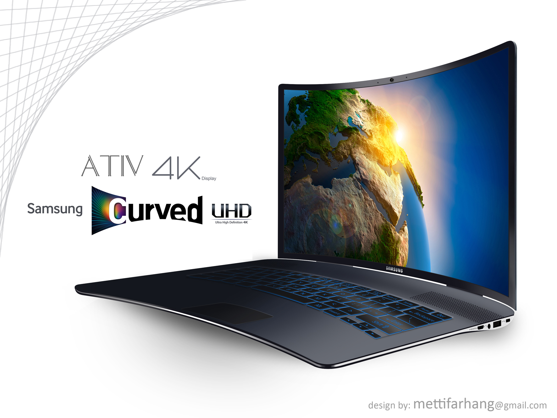 samsung ativ 4k is a laptop with a curved uhd screen. Black Bedroom Furniture Sets. Home Design Ideas