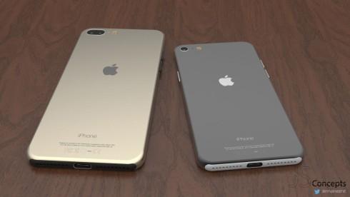Střízlivý koncept iPhonů 7 s duálním fotoaparátem u iPhonu 7 Plus