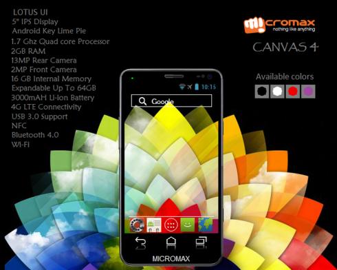 micromax canvas 4 suman