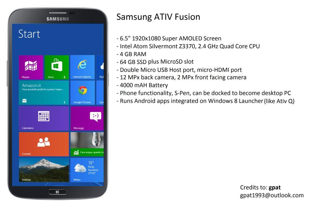 Calendario Samsung.Samsung Ativ Fusion Concept Phones