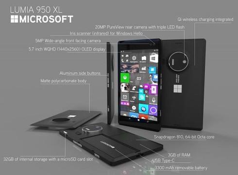 Microsoft Lumia 950 XL slim concept 1