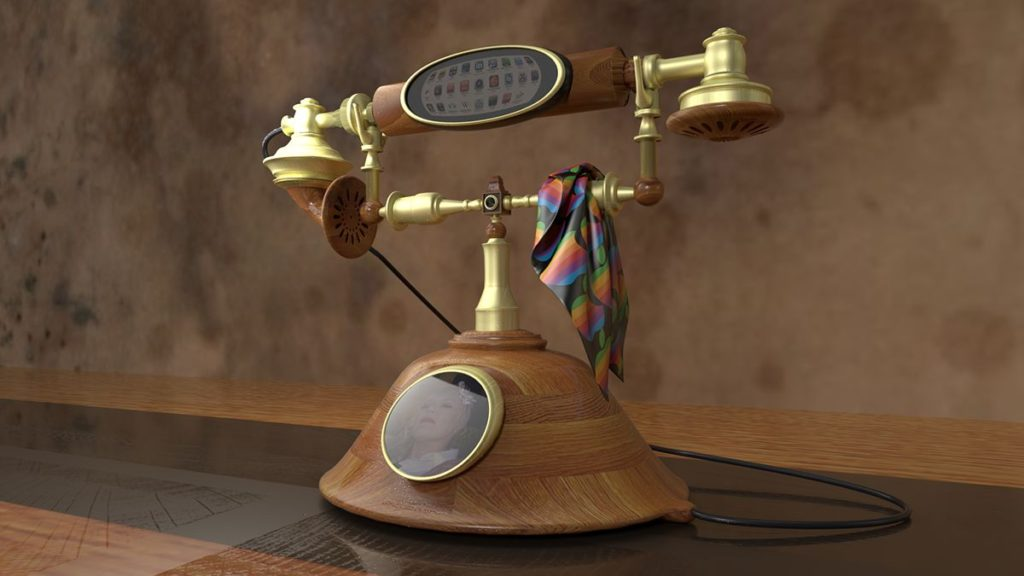 iPhone rotary phone steampunk concept