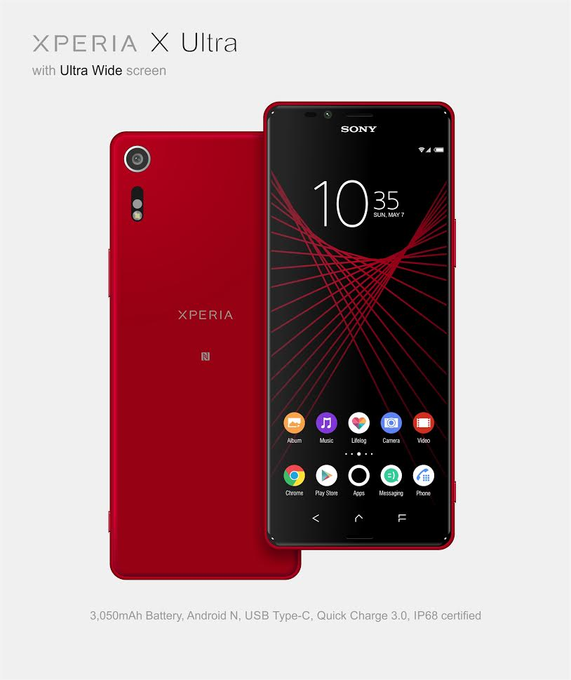 sony xperia phone. the sony logo has been hidden in screen and it lights up when you press power button. this big phablet a 6.45 inch full hd screen, xperia phone