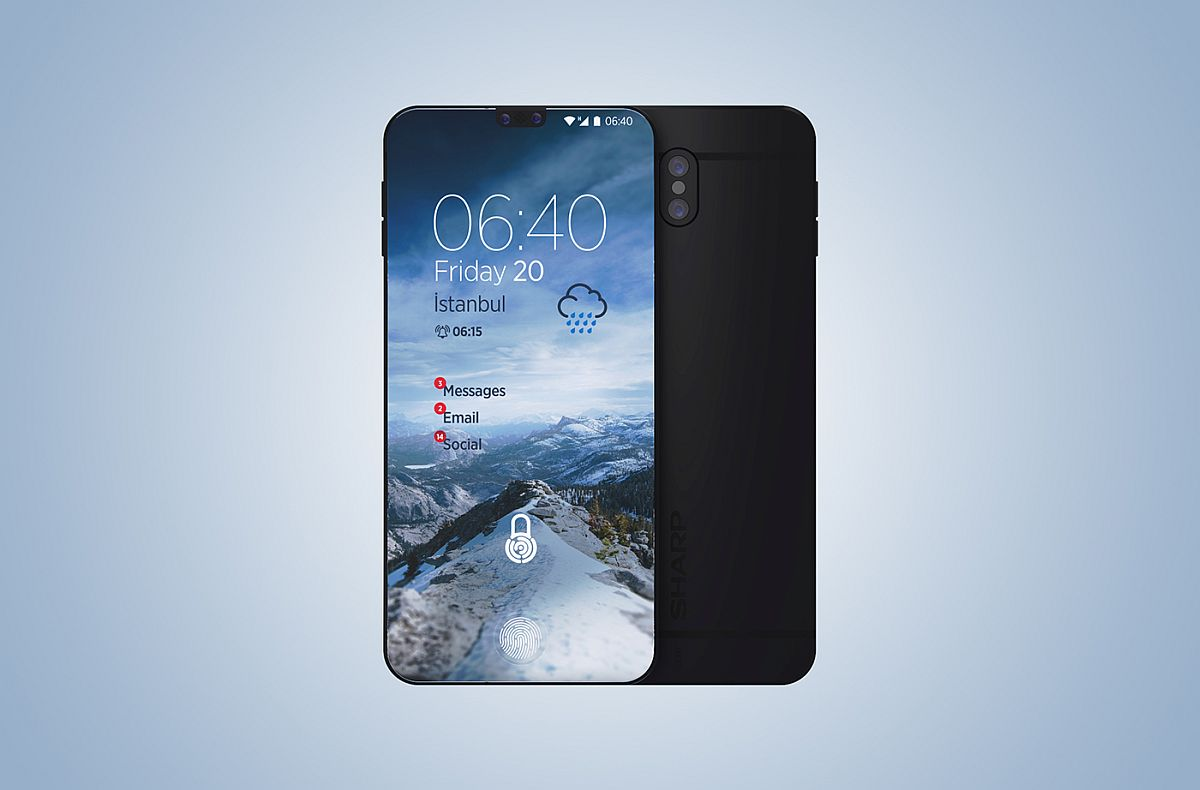 sharp aquos phone. when seen from the front, device looks very much like essential phone, sharp aquos phone